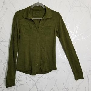 Prana Army Green Long Sleeve Button Up Blouse